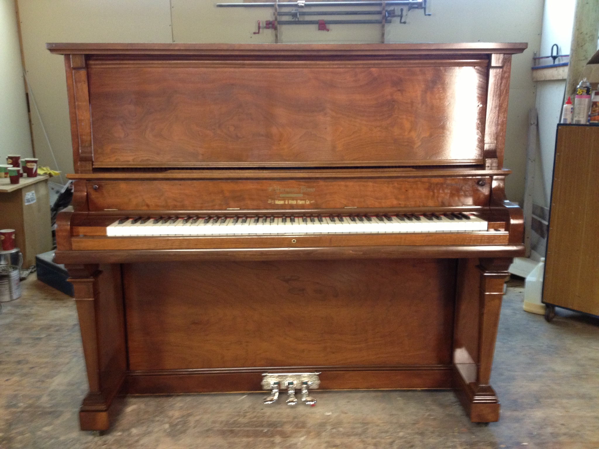 A beautifully refinished piano.